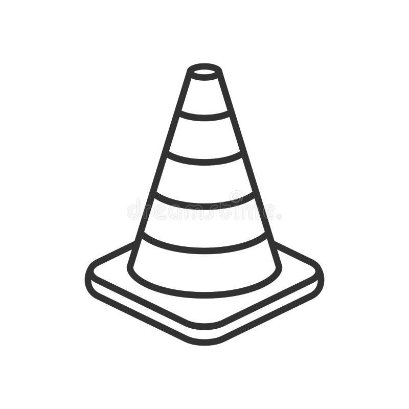 Ícone liso do esboço do cone do tráfego no branco ilustração royalty free