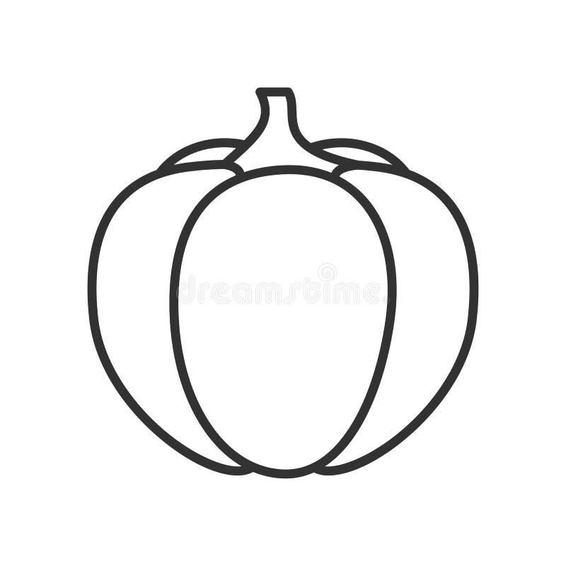 Ícone liso do esboço da abóbora no branco ilustração do vetor