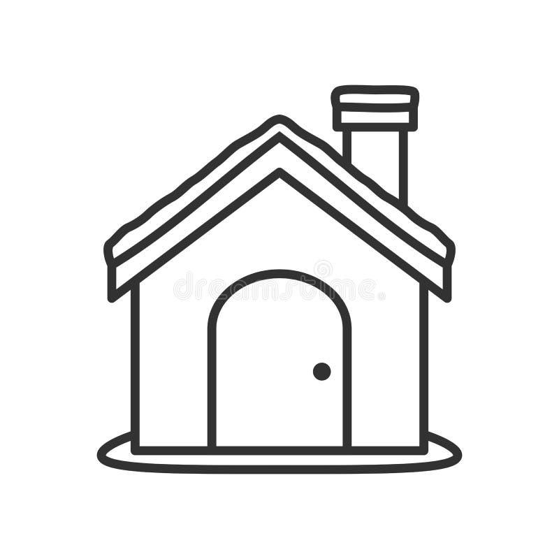 Ícone liso do esboço da casa do Natal no branco ilustração stock
