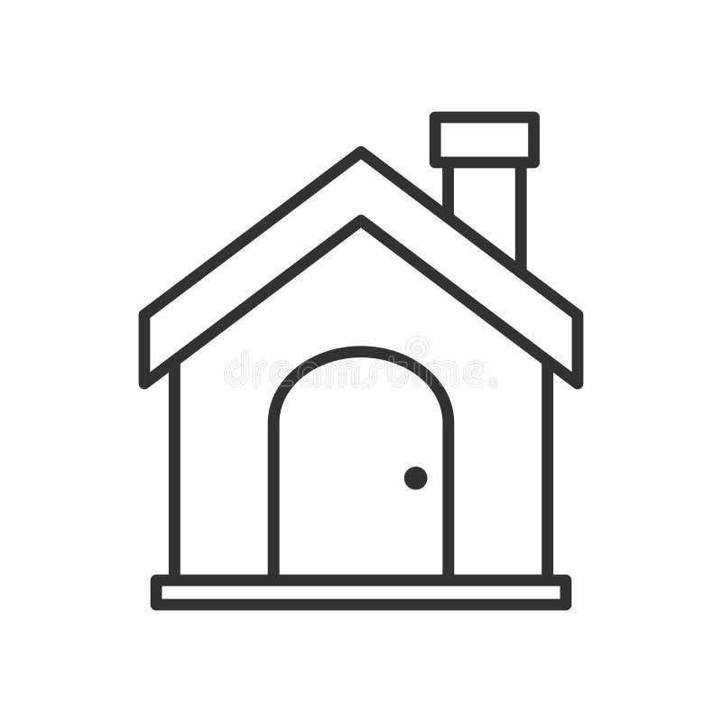 Ícone liso do esboço da casa ou da casa no branco ilustração royalty free