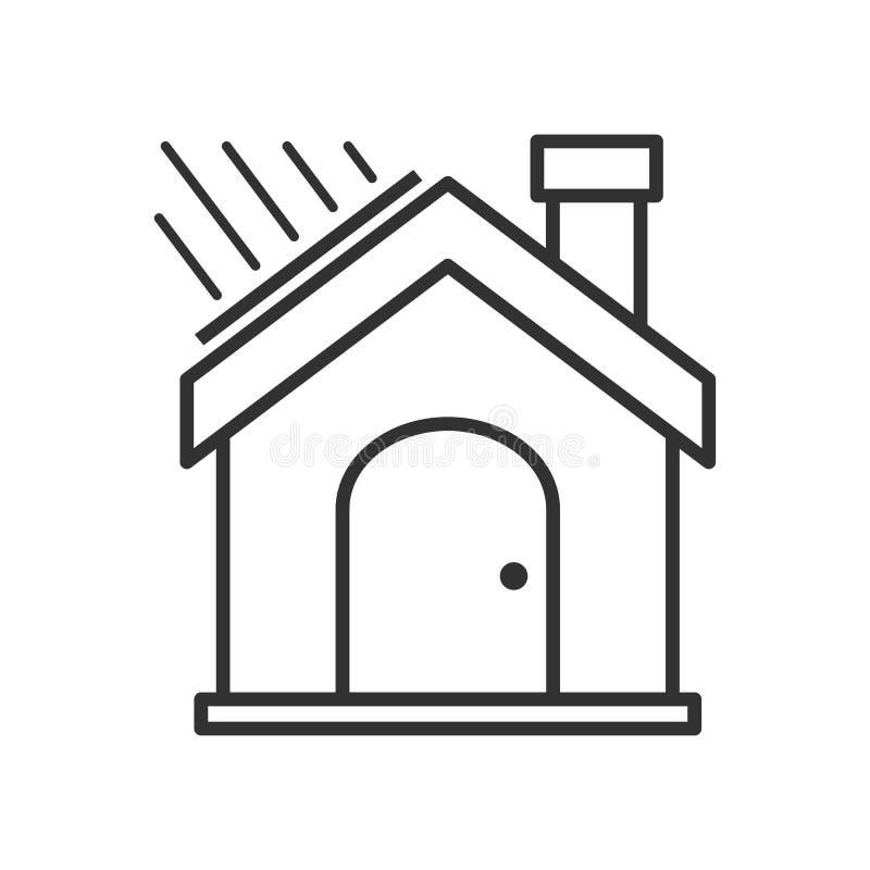 Ícone liso do esboço da casa verde no branco ilustração stock