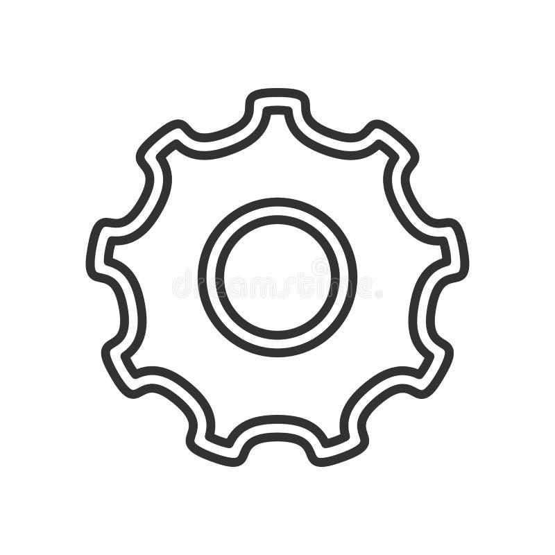 Ícone liso do esboço da roda de engrenagem da ferramenta no branco ilustração stock
