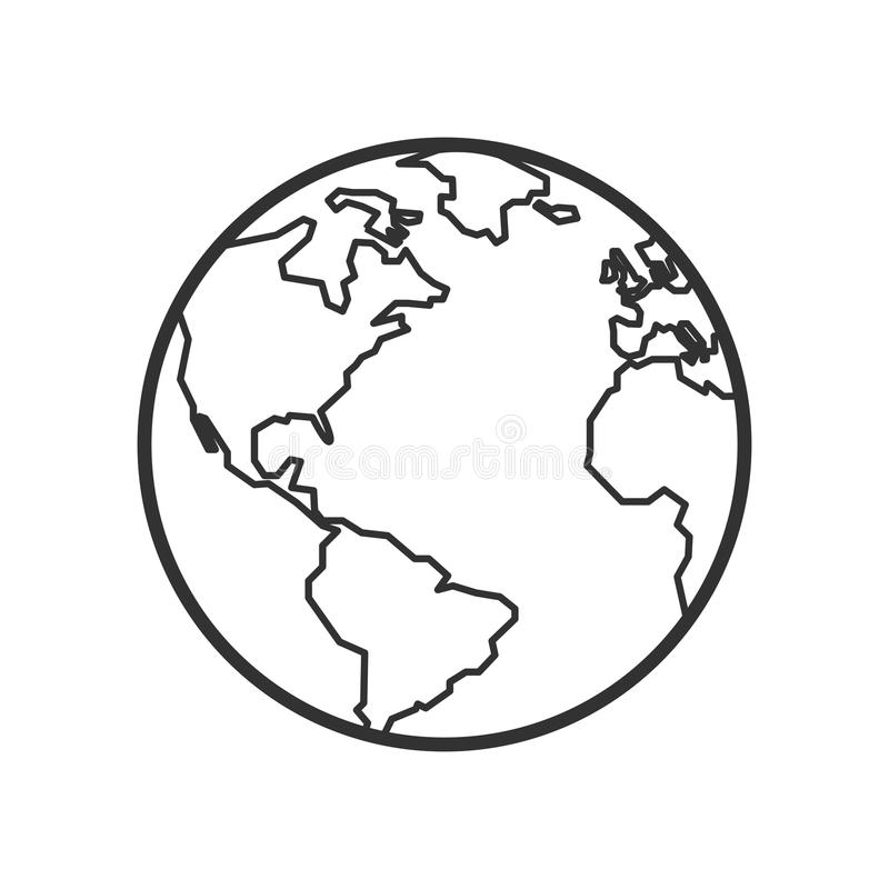 Ícone liso do esboço da terra do planeta no branco ilustração stock