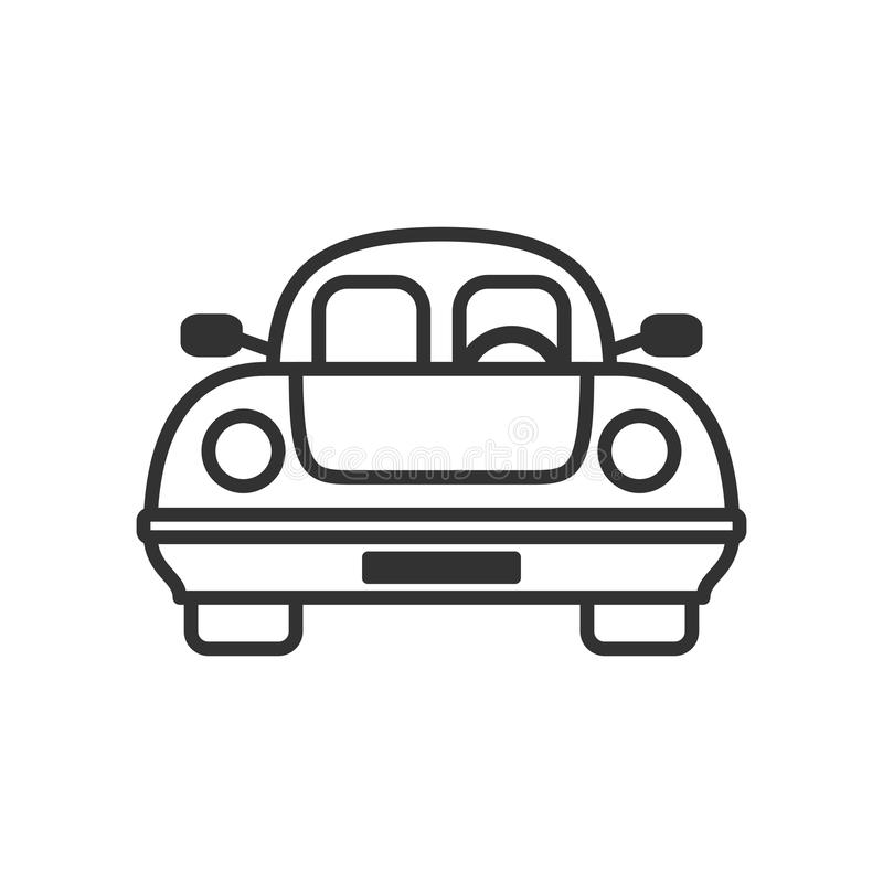 Ícone liso do esboço ecológico do carro no branco ilustração royalty free