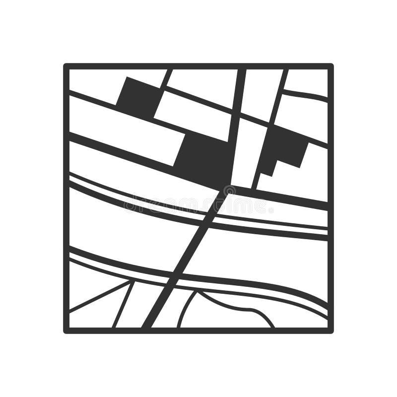 Ícone liso do esboço genérico do mapa no branco ilustração do vetor