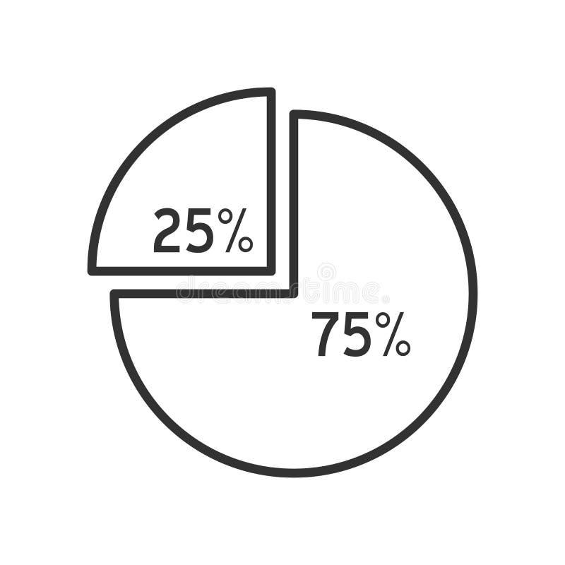 Ícone liso do esboço do gráfico da carta de torta no branco ilustração do vetor