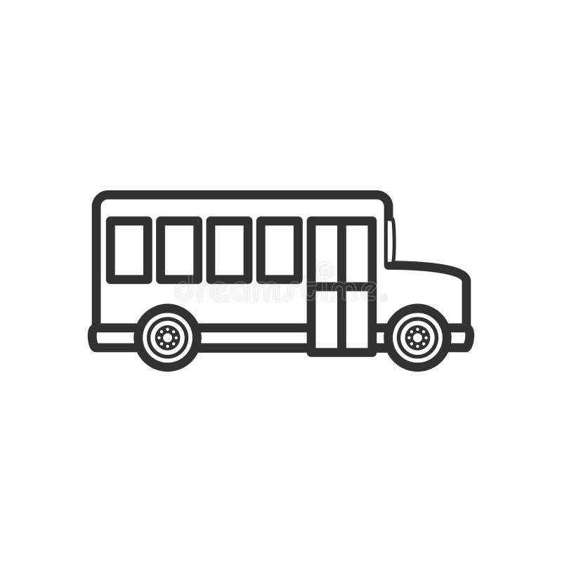 Ícone liso do esboço do lado do ônibus escolar no branco ilustração stock