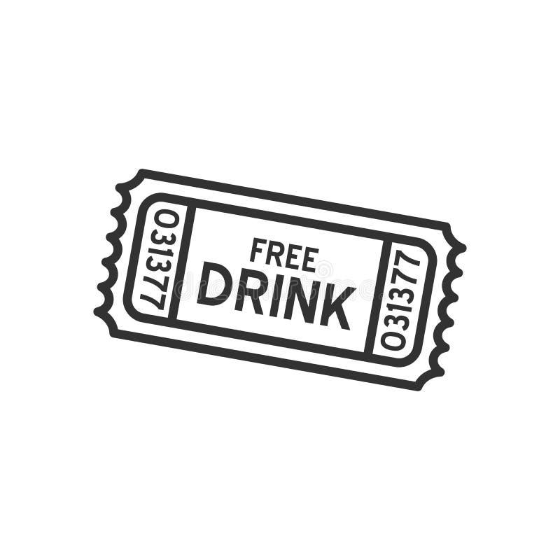 Ícone liso do esboço livre do bilhete da bebida no branco ilustração do vetor