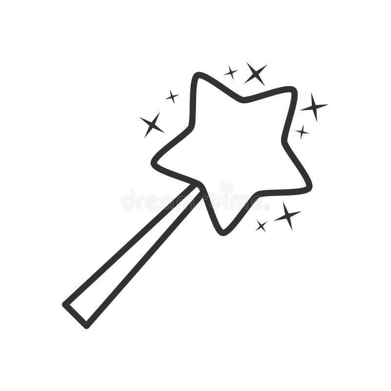 Ícone liso do esboço mágico da varinha no branco ilustração stock