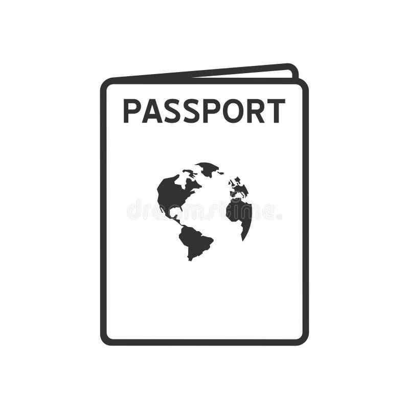 Ícone liso do esboço do passaporte no branco ilustração royalty free