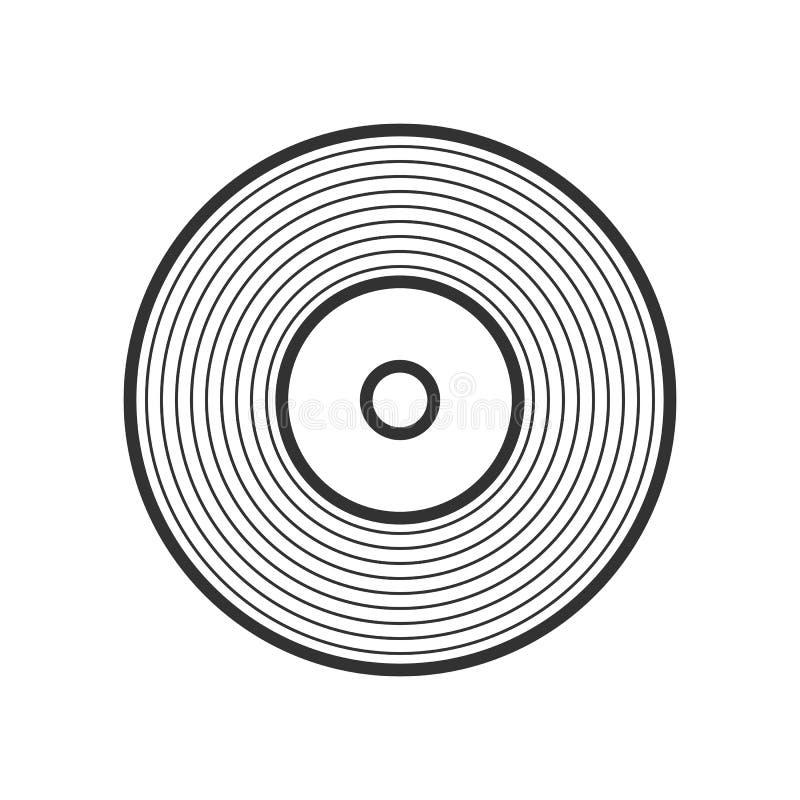 Ícone liso do esboço do registro de LP do vinil no branco ilustração do vetor