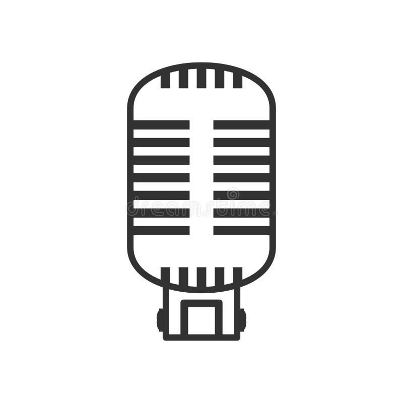 Ícone liso do esboço retro do microfone no branco ilustração do vetor