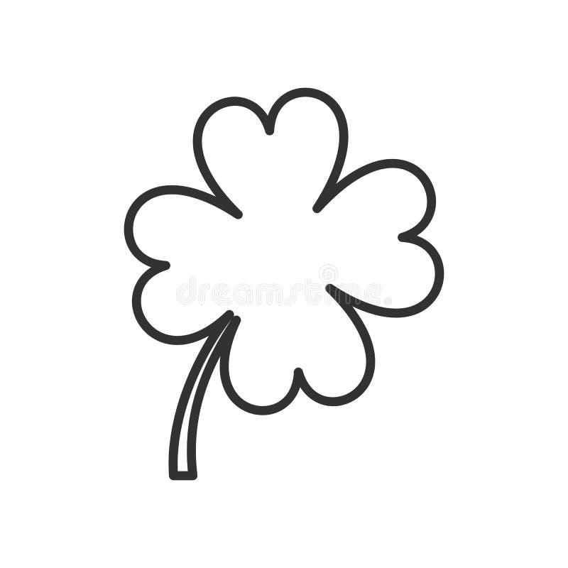 Ícone liso do esboço do trevo de quatro folhas no branco ilustração royalty free