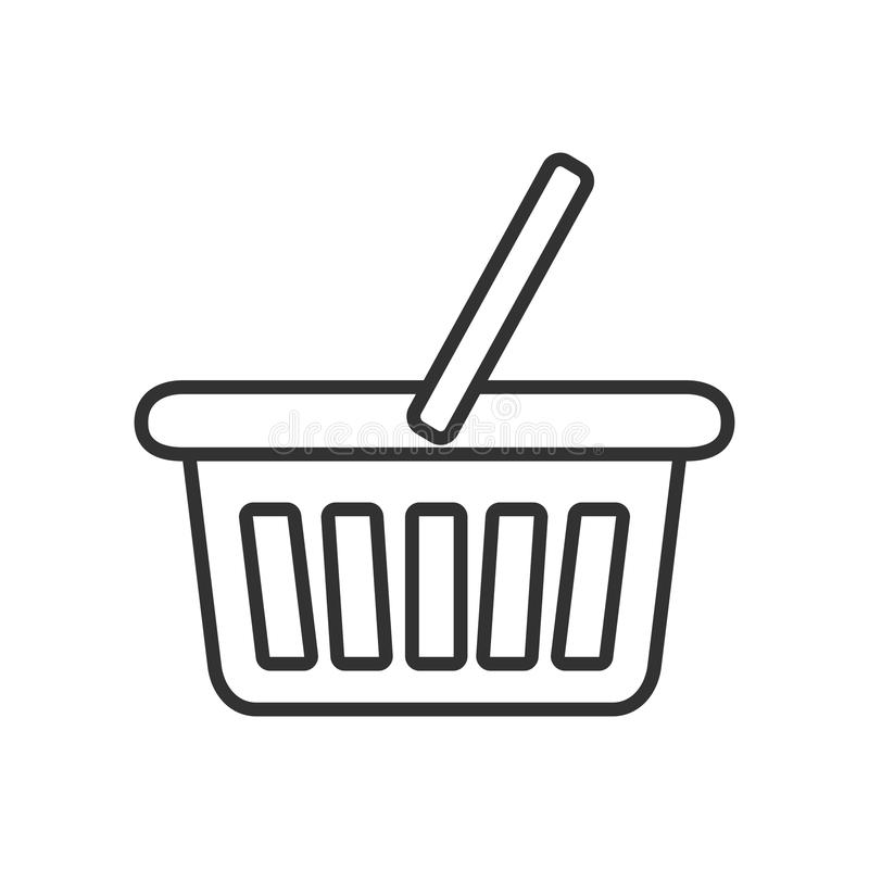 Ícone liso do esboço vazio do cesto de compras ilustração stock