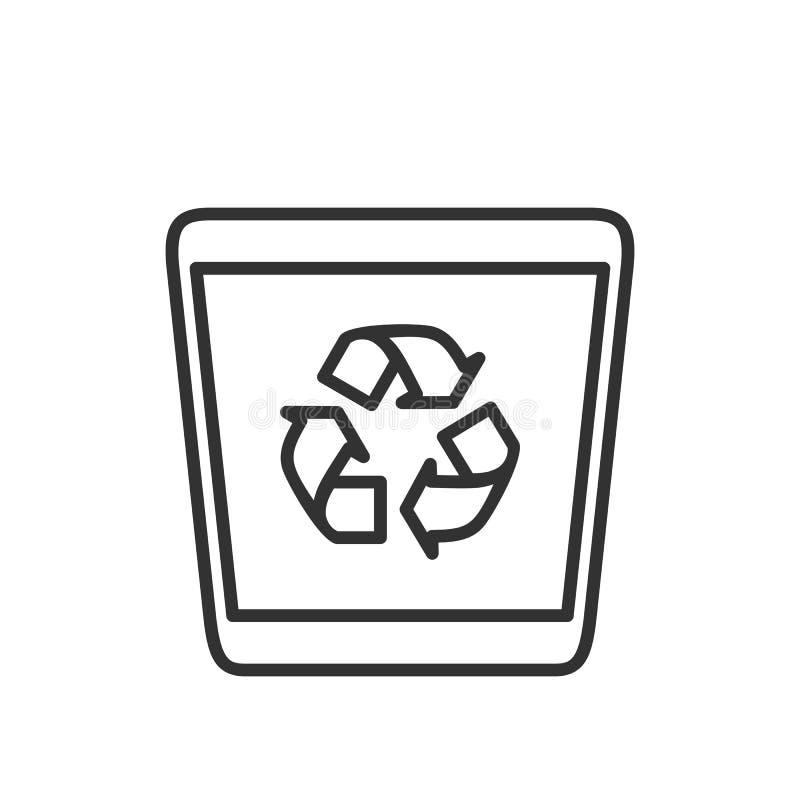 Ícone liso do esboço vazio do escaninho de lixo no branco ilustração royalty free