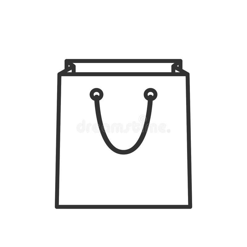Ícone liso do esboço vazio do saco de compras ilustração stock