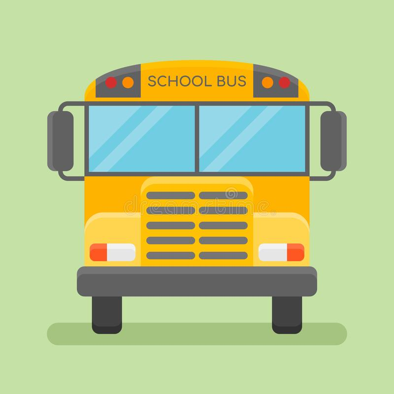 Ícone liso do estilo do ônibus escolar amarelo Ilustração do vetor ilustração stock