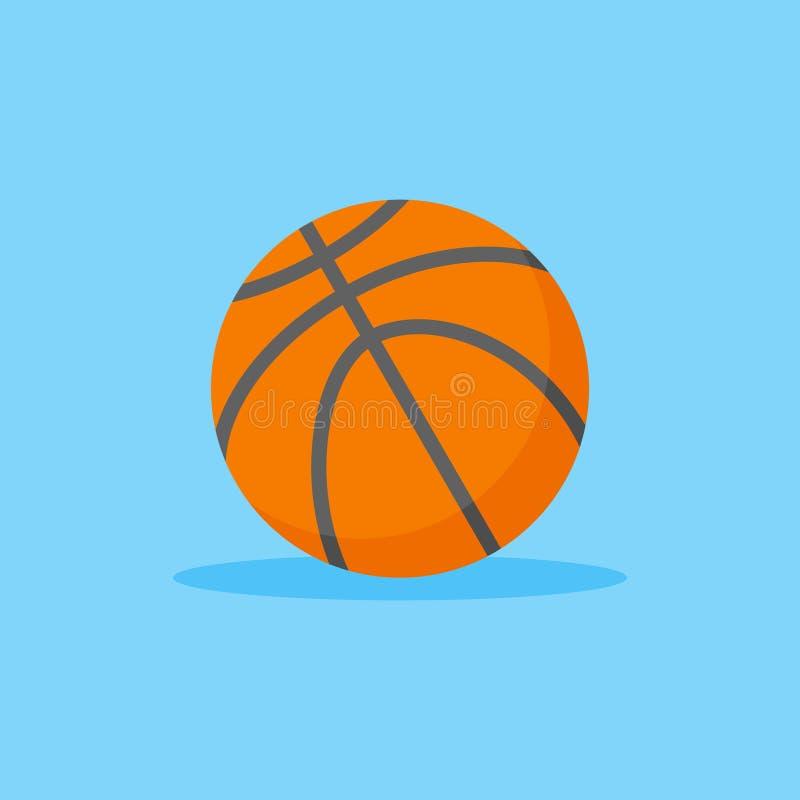 Ícone liso do estilo do basquetebol Ilustração alaranjada do vetor da bola ilustração stock