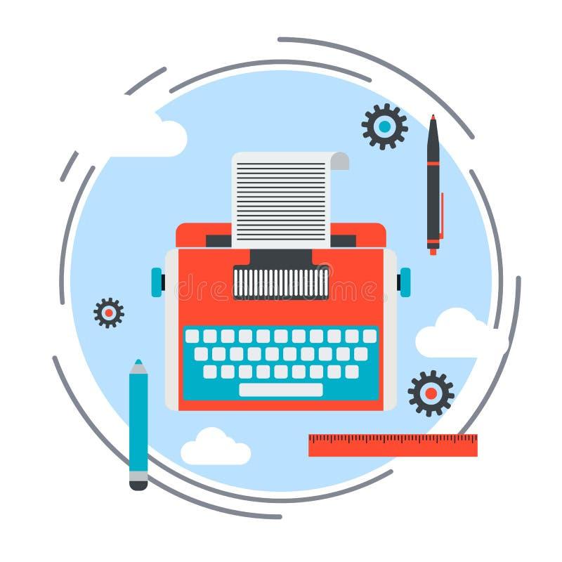 Ícone liso do estilo do projeto da máquina de escrever retro ilustração stock