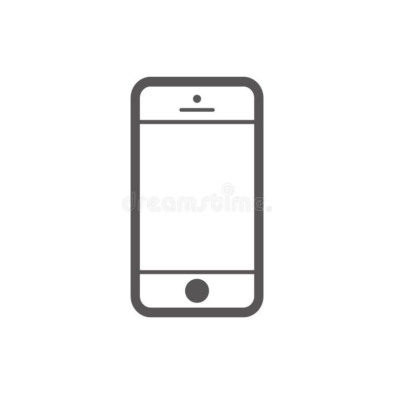 Ícone liso do estilo do esboço do iphone do telefone celular Vetor eps10 do ícone do estilo do esboço de Smartphone sinal do veto ilustração stock