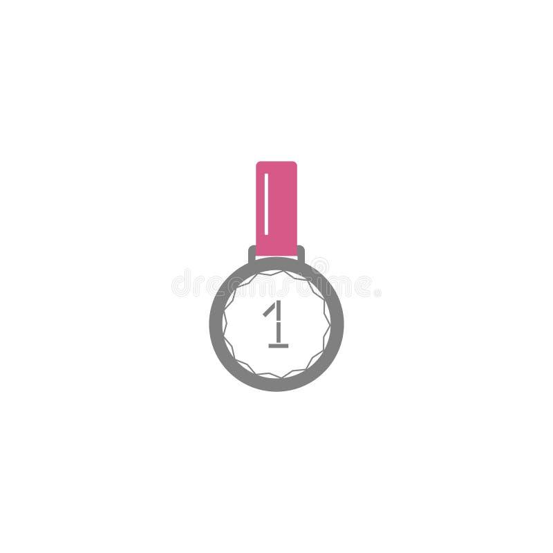 Ícone liso do estilo do vetor - fita e medalha do primeiro vencedor do lugar - para o logotipo, ícone, cartaz, bandeira, evento d ilustração stock