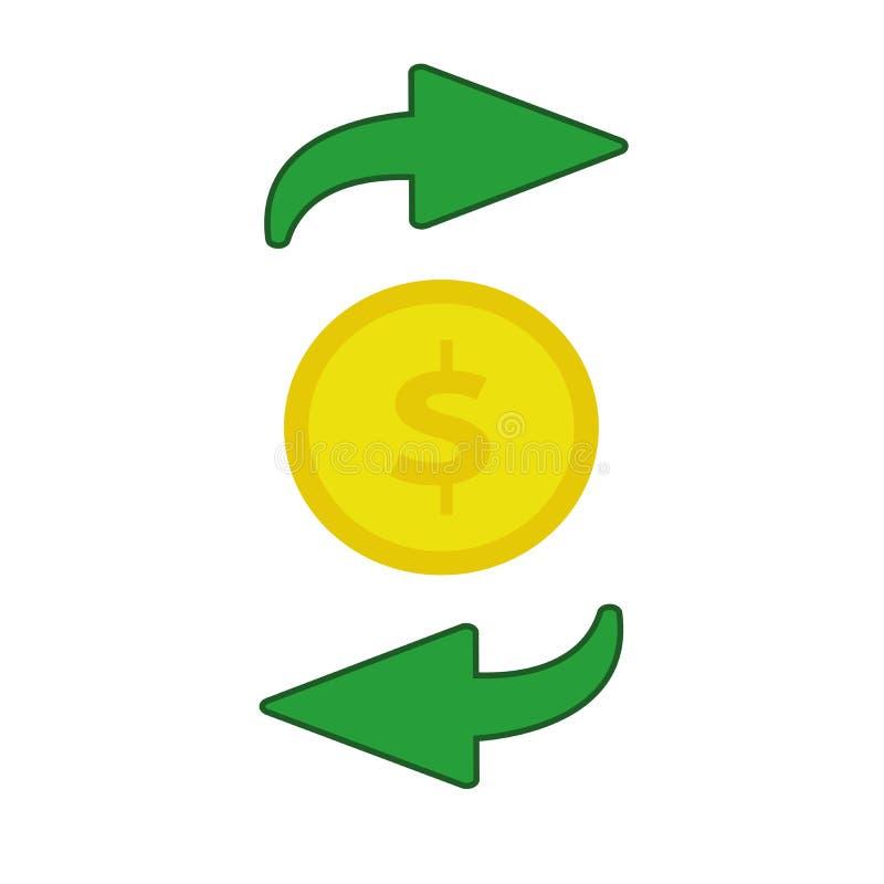 Ícone liso do fluxo de dinheiro ilustração stock