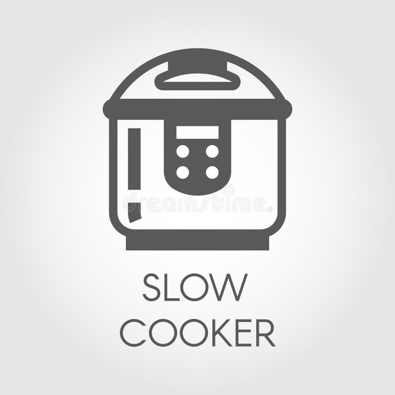 Ícone liso do fogão lento Imagem gráfica eletrônica do potenciômetro ou do navio da vasilha de barro Etiqueta do aparelho eletrod ilustração stock