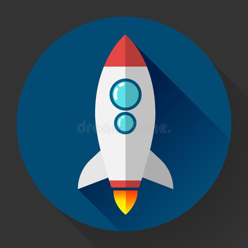 Ícone liso do foguete Conceito Startup Desenvolvimento de projeto ilustração royalty free