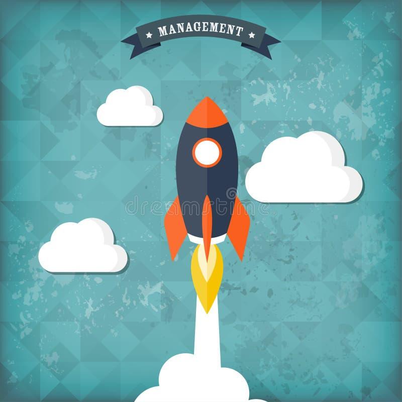 Ícone liso do foguete Conceito Startup Desenvolvimento de projeto Backgeound do vintage ilustração royalty free