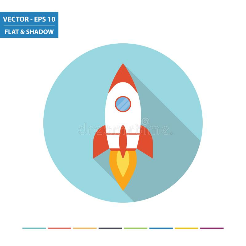 Ícone liso do foguete de espaço ilustração do vetor