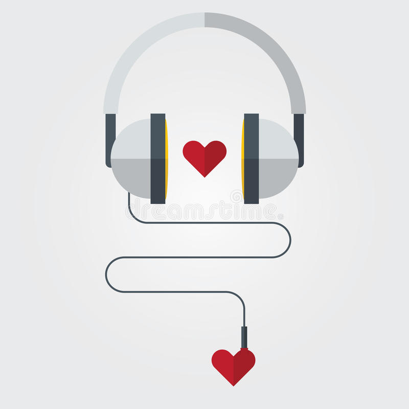 Ícone liso do fones de ouvido com coração vermelho no tema da música do amor, vetor ilustração royalty free