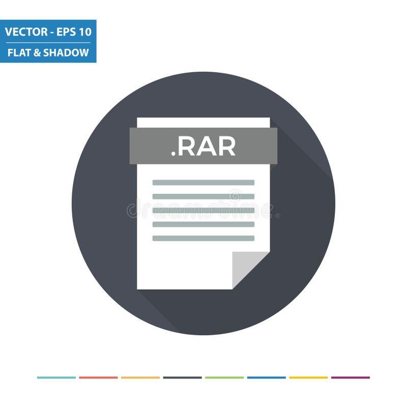 Ícone liso do formato de arquivo do original da compressão de RAR ilustração stock