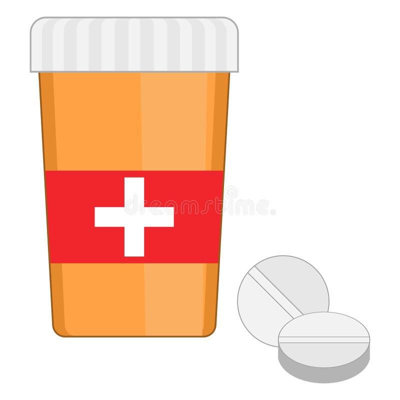 Ícone liso do frasco alaranjado com comprimidos médicos ilustração stock