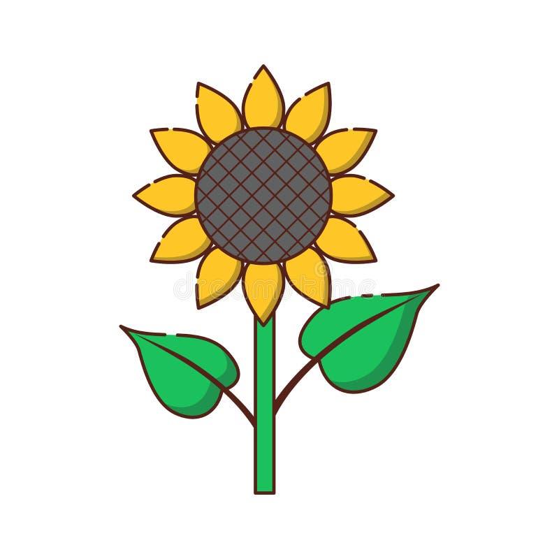 Ícone liso do girassol dos desenhos animados do vetor ilustração royalty free