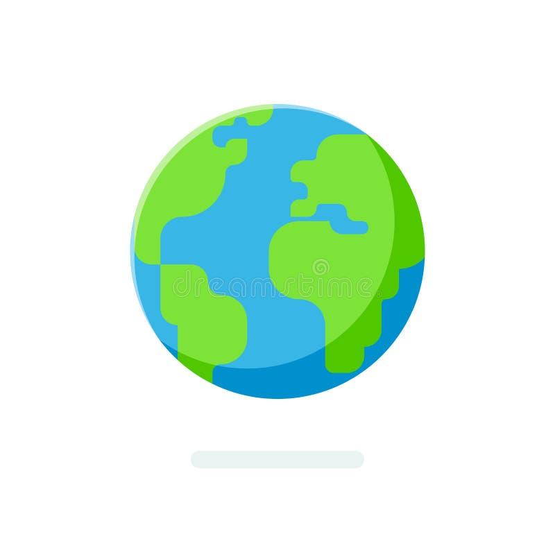 Ícone liso do globo da terra do estilo Mapa do mundo esférico isolado ilustração royalty free