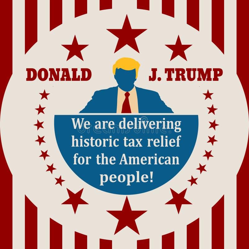 Ícone liso do homem com citações de Donald Trump ilustração stock