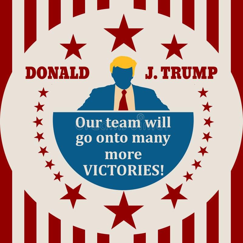 Ícone liso do homem com citações de Donald Trump ilustração do vetor