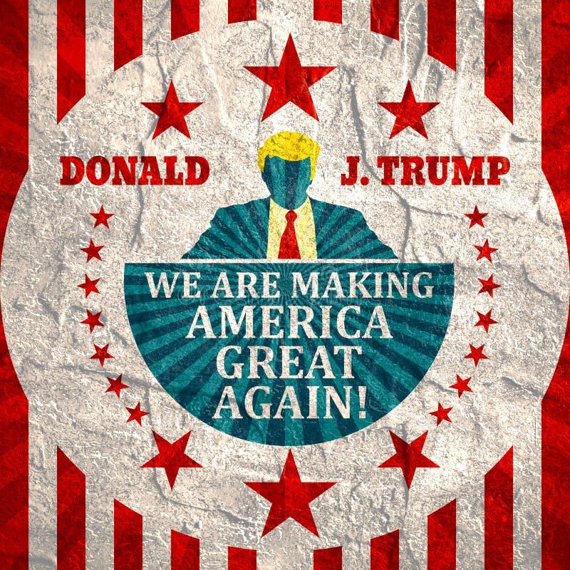 Ícone liso do homem com citações de Donald Trump ilustração royalty free