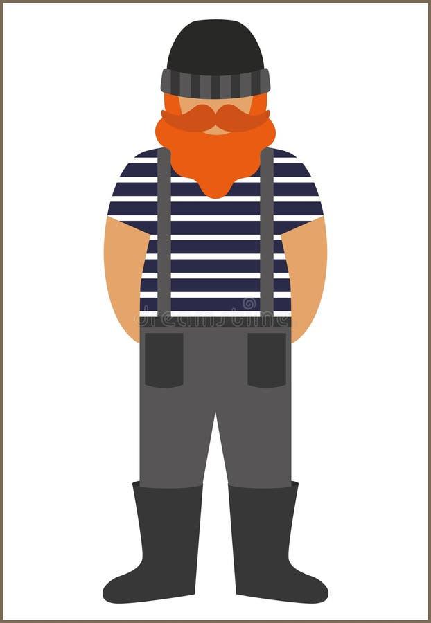 Ícone liso do homem do pescador/marinheiro - um homem com um bigode vestir da barba em botas da veste e do fato-macaco dos macacõ fotografia de stock