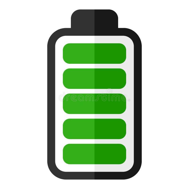 Ícone liso do indicador verde da energia da bateria ilustração royalty free
