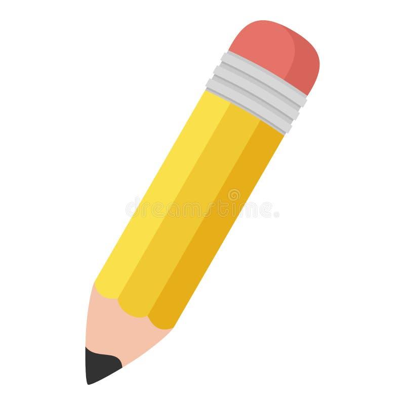 Ícone liso do lápis pequeno isolado no branco ilustração stock