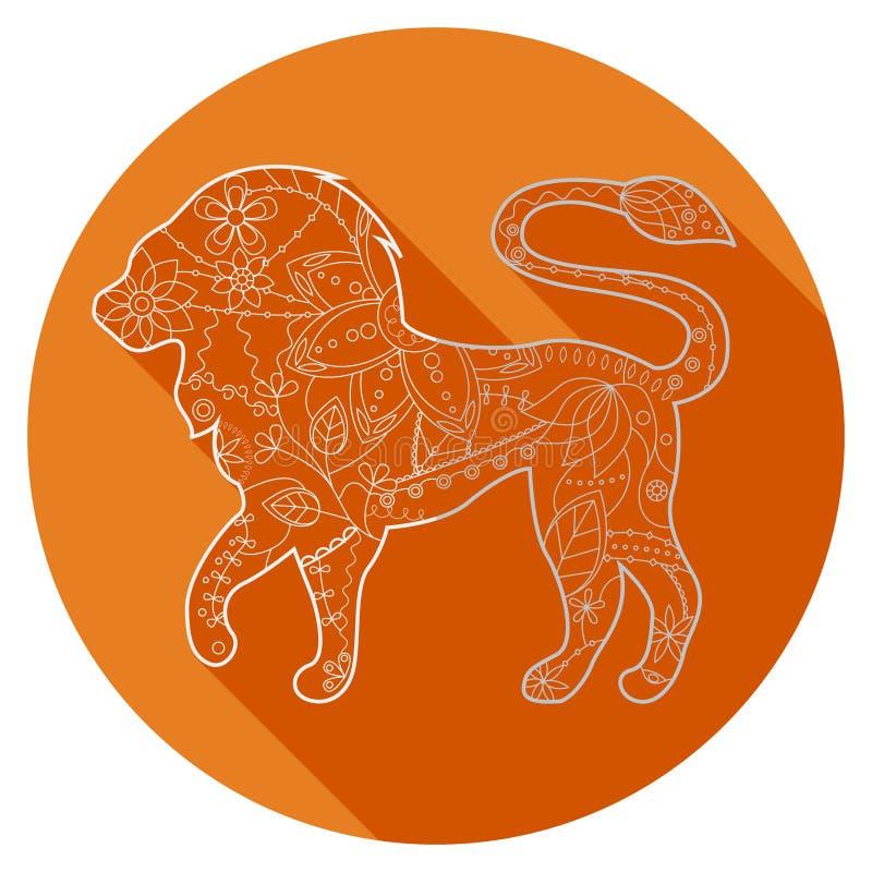 Ícone liso do Leão do sinal do zodíaco ilustração royalty free