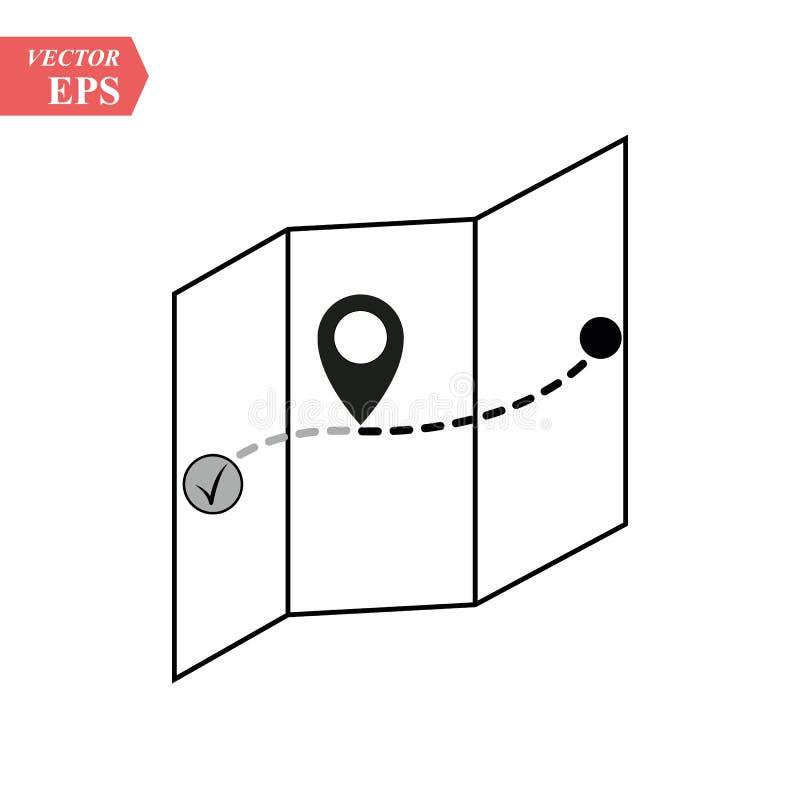 Ícone liso do lugar, ícone do mapa Mapa do vetor com ícone da etiqueta Mapa com um pino isolado no branco Mapa do tesouro ilustração stock