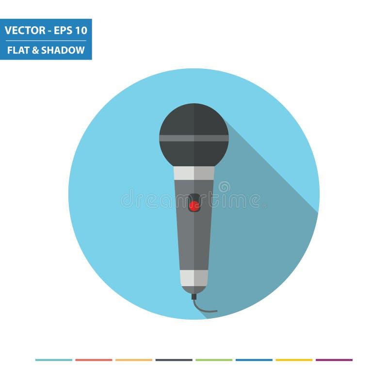 Ícone liso do microfone ilustração stock