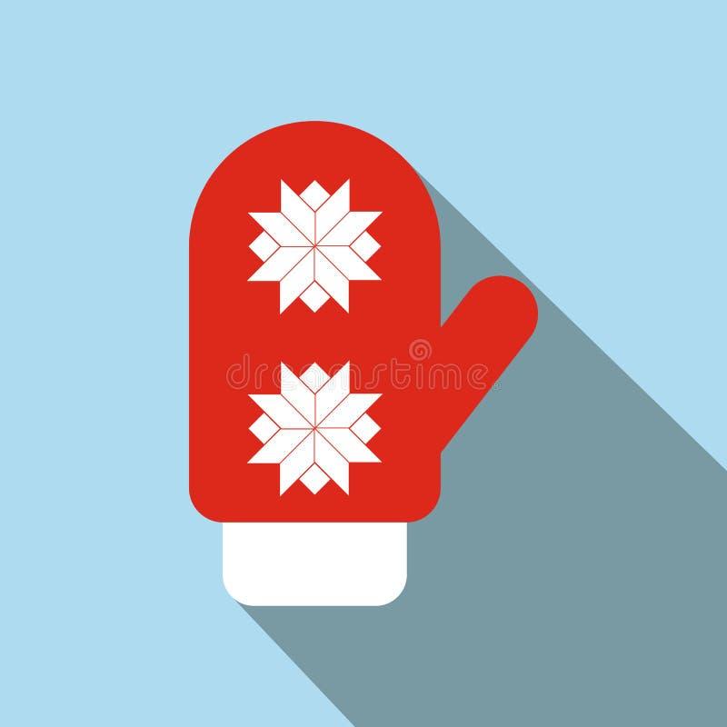 Ícone liso do mitene vermelho de Santa ilustração stock