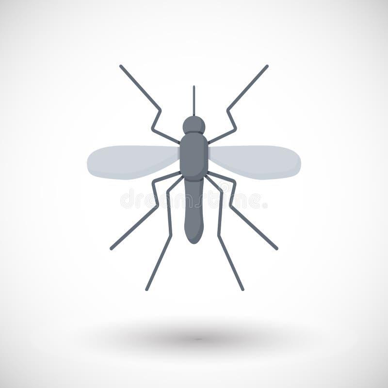 Ícone liso do mosquito ilustração stock