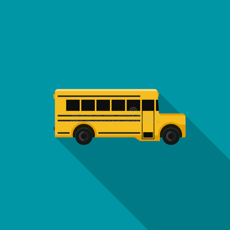 Ícone liso do ônibus escolar ilustração do vetor