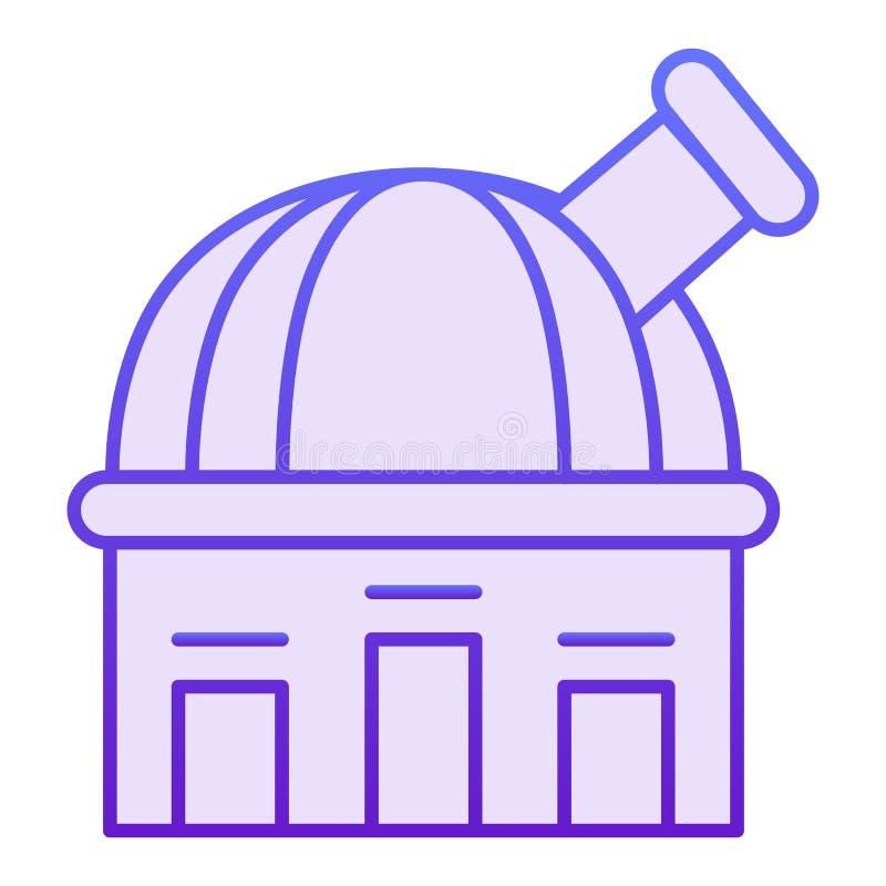 Ícone liso do obervatório Ícones violetas do telescópio no estilo liso na moda Projeto do estilo do inclinação da astronomia, pro ilustração do vetor