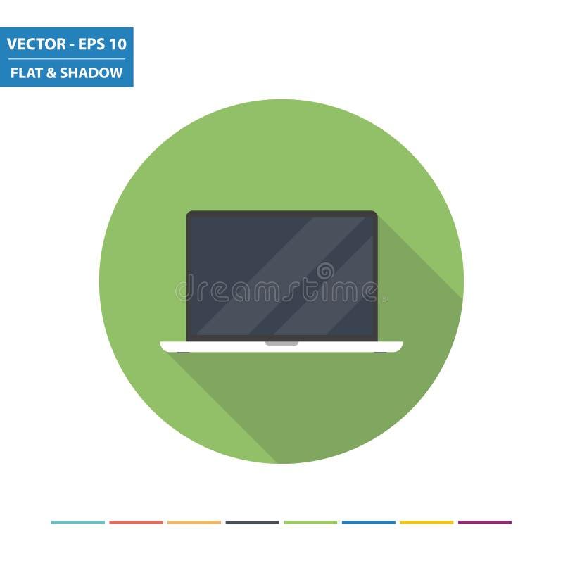 Ícone liso do PC do portátil ilustração do vetor
