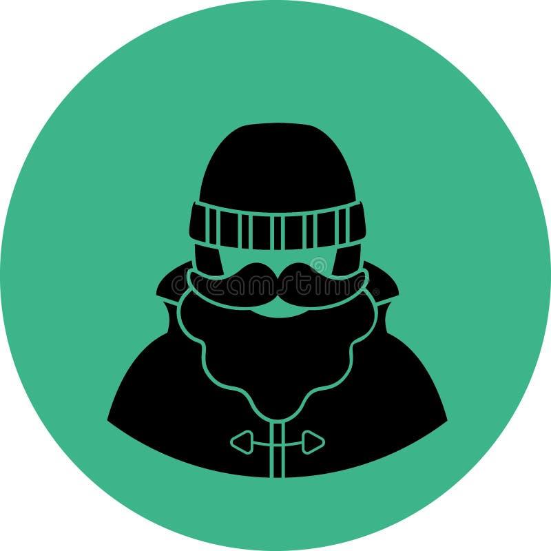 Ícone liso do pescador/sailorman - um homem com um bigode vestir da barba em botas de uma capa de chuva do revestimento de trinch imagens de stock